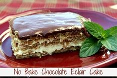 No Bake Chocolate Elcair Cake using graham crackers, pudding mix and chocolate icing...the hardest part is waiting 6-12 hours so that the graham crackers can  soften up.
