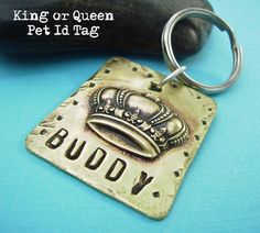 3d Personalized Pet Id Tag - King or Queen Puppy Dog or Cat hand stamped antiqued brass custom personalized pendant - add name and number #deborahmcgovernjewelry #petidtag #handstamped #persoonalized