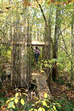 Bamboo Fort by the Stubbs Family | bamboo screen would work well in a tree — doesn't block views.