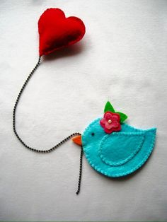 Shop for brooch on Etsy, the place to express your creativity through the buying and selling of handmade and vintage goods. Felt Diy, Felt Crafts, Fabric Crafts, Sewing Crafts, Sewing Projects, Felt Bookmark, Book Markers, Felt Birds, Felt Brooch