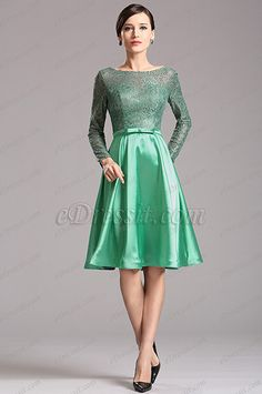 Green Long Lace Sleeves Illusion Sweetheart Short Dress (X04151804) list price: $139.99 sale price: $90.99