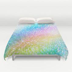 rainbow duvet cover/rainbow duvet/glitter by haroulitasDesign