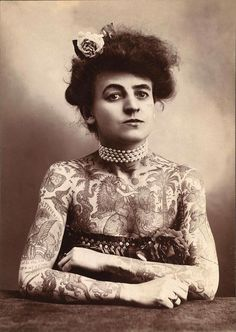 Maud Wagner, America's first known female tattoo artist photographed in 1907. Photo/Library of Congress