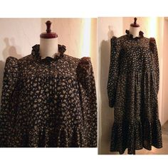 PRE-SPRING 2020 COCOdake COuture Black Floral Print Ruffle collar Puff sleeves Blouse Gathered Relax fit Long Shirt Tiered Dress US 8 - US 9 Large COCOdake COuture Ruffle Collar, Tiered Dress, Couture Collection, Floral Prints, High Neck Dress, Puff Sleeves, Blouse, Relax, Shirts