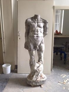 "my sons Henry Washer's concret sculpture WIP ""Man in Defeat"" 2015"
