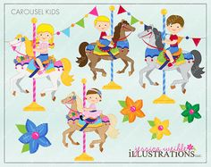 Carousel Kids Cute Digital Clipart for by JWIllustrations on Etsy