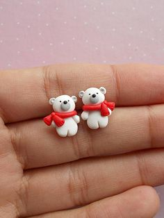 0b2388339c97 Polar Bear Earrings Christmas Earring Christmas Stud Earring Bear Jewelry  Christmas Jewelry Kids Christmas Winter Gift Stocking Stuffer