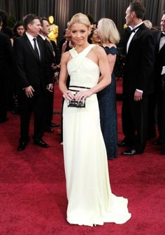 A-line Straps Sweep/ Brush Train in Satin 84th Oscar Dress 2012
