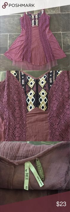 Gimmicks by bke tank Gimmicks by bke tank from the buckle size small. It is a mauve/dusty purple color with beading on neckline and a tulle underlay. BKE Tops Tank Tops