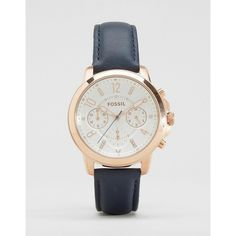 Fossil Gwynn Navy Leather Watch ES4040 ($218) ❤ liked on Polyvore featuring jewelry, watches, blue, blue jewelry, blue watches, leather wrist watch, fossil watches and navy watches