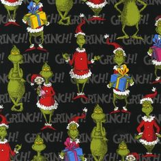 The Grinch Stole Christmas 2 Black Ade 12607 2 Fabric Kaufman Le Grinch, Grinch Stuff, Grinch Who Stole Christmas, Grinch Christmas Decorations, Christmas Ornaments, Christmas Ideas, Christmas Fabric, Quilt Kits, Christmas Wallpaper