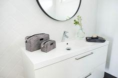 Kylpyhuone - Kastelli Asuntomessut 2017 Bathroom, Sink, Decor, Furniture, Home, Round Mirror Bathroom, Mirror, Bathroom Mirror, Home Decor