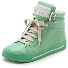 Marc by Marc Jacobs Cute Kicks High Top Sneakers (390 AUD) ❤ liked on Polyvore featuring shoes, sneakers, schuhe, trainers, zapatos, footwear, green, green high top sneakers, lace up sneakers and leather high tops
