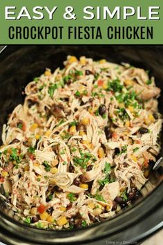 Crock Pot Fiesta Chicken Recipe is perfect for tacos, salads, burrito bowls and more! Toss everything into the slow cooker and dinner will be ready with very little work. Crock Pot Fiesta Chicken Recipe This simple and delicious Easy Chicken Recipes, Beef Recipes, Recipe Chicken, Healthy Chicken, Seafood Recipes, Chicken Salad, Summer Crock Pot Recipes, Hen Chicken, Healthy Recipes
