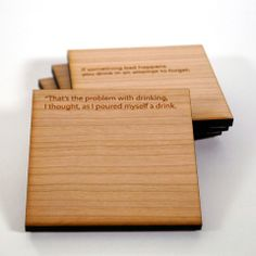 Add some cool clean design and english literature to your coffee table with these cherry wood coasters from B+ Wood Coasters, Drink Coasters, Holiday Gift Guide, Holiday Gifts, Company Values, 3d Prints, Bukowski, Book Lovers Gifts, Clean Design
