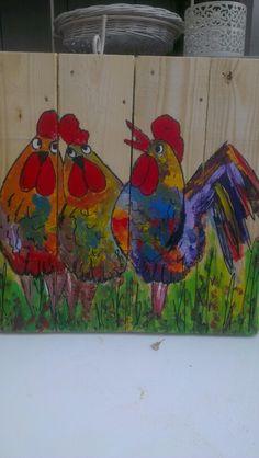 Kippen op hout geschilderd