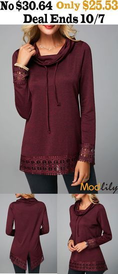 247aa5b569273d Crochet Detail Back Slit Cowl Neck T Shirt On Sale At Modlily. Free shipping.  To thanksgiving customer, Modlily specialy offers introduce. It is very  cheap.