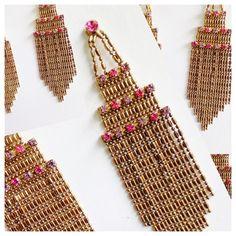 Gold Chandelier Earrings     Bundle ready Very feminine dangle earrings with delicate gold tone beads and pink rhinestones Pierced Jewelry Earrings