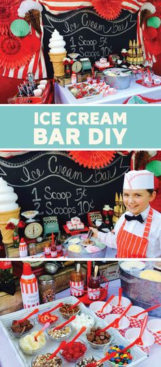 There ain't no party like an ice cream party—especially when you're serving up delicious scoops of Dreyer's Slow ChurnedⓇ ice cream with this old fashioned DIY ice cream bar. Use brightly colored streamers and a chalkboard sign to decorate your dessert ta Ice Cream Cart, Ice Cream Theme, Diy Ice Cream, Ice Cream Treats, Old Fashioned Ice Cream, Sundae Bar, Summer Ice Cream, 10th Birthday Parties, Birthday Ideas