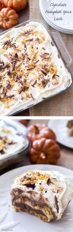 This no bake layered pudding dessert begins with a graham cracker crust, then has layers of chocolate pudding, pumpkin spice pudding, homemade whipped cream, and chocolate shavings! This dessert is a winner. by autumn