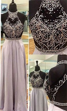Charming Prom Dresses, Chiffon Prom Dresses, Sequins Beading Prom Dress, Halter Backless Evening dress, Long formal dresses