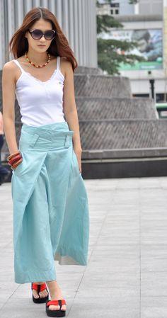 Graceful Light Blue Adjustable Waist Long Maxi Skirt - NC030. $53.00, via Etsy.