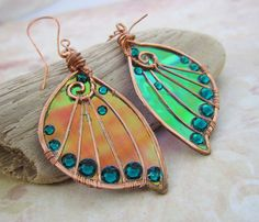 Sihaya Designs Faery Wing Earrings - Tam Lin - Iridescent Fairy Wing Jewelry on…