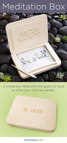 Create a calming oasis and improve your wellness with this box filled with fine grains of sand that shift with your every inspiration.