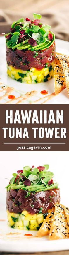 Hawaiian Bigeye Tuna Tower with Sesame Wonton Crisps - Simple yet elegant recipe combines bold flavors of the delectable ahi tuna with the crunchy baked spiced crackers. | http://jessicagavin.com
