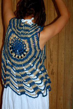 Sand and Sea Crocheted Circle Vest by retrotimbre on Etsy, $50,00