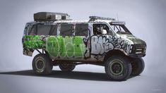 Racing Rat Van, Nick Foreman on ArtStation at https://www.artstation.com/artwork/e9eQZ