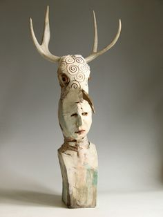 Cary Weigand: The Willderbeast.  porcelain, stains, oil paint and antlers.