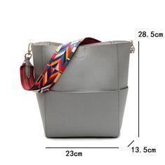 Luxury Brand Designer Bucket bag Women Leather Wide Strap Shoulder bag Handbag Large Capacity Crossbody bag For Shopping Office