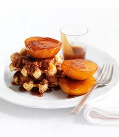 waffles with roasted peaches and beautiful brandy sauce