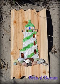 Sea glass lighthouse Beach glass art