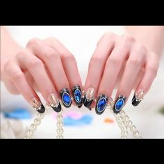 24 pieces Luxurious fake nails fake nails 24 pieces Luxurious fake nails fake nails  beautiful Crystal  blue black fake nails High Quality Belle Accessories