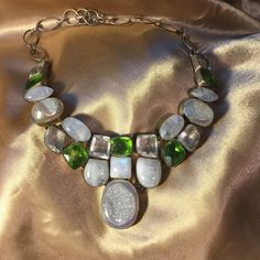 A Druzy and Rainbow Moonstone Artsy Necklace Total WOW Champagne Druzy iridescent  along with some beautiful genuine moonstones and Quartz . Marked 925 on back. Rainbow moonstones are glowing ! Artist one of a kind Jewelry Necklaces