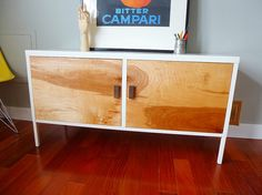 brilliant storage idea ikea kitchen cabinets hung low as a floating credenza with added wood wraparound inexpensive beautiful and fu2026