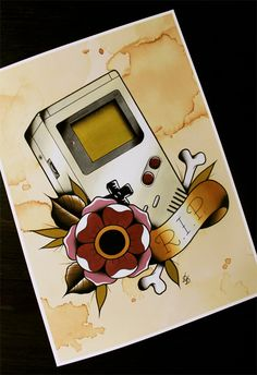 """Nintendo Game Boy Traditional Tattoo Flash Print 11""""x14"""" (Other sizes available) (28.00 AUD) by Yukittenme"""