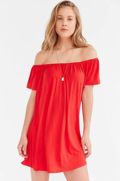 Silence + Noise Off-The-Shoulder Swing Dress