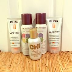 VARIOUS HAIRSTYLING PRODUCTS!!! HAIRSTYLING BUNDLE PRODUCTS  Never used/ New hair products from  2 Rusk Wired Flexible Styling Creme (2 oz.)  CHI Keratin Silk Infusion (2 oz.)  2 PUREOLOGY Color Stylist Supreme Control Hairspray (2.1 oz.) Makeup