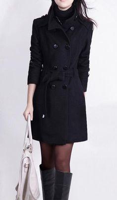 Stand Collar Double Button Belt Slim Plus Size Woolen Coat