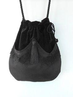 Black Lace Drawstring Bag  Black Velvet Bag  Bohemian Bag  Crossbody Purse Dark Forest Mori Girl