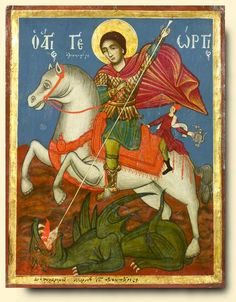 Detailed view: Saint George and the Dragon- exhibited at the Temple Gallery, specialists in Russian icons Byzantine Icons, Byzantine Art, Patron Saint Of England, Saint George And The Dragon, Greek Icons, Christ The King, Russian Icons, Biblical Art, Archangel Michael