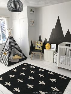 Kids Rooms│Baby Cot│Cactus Stamp │Washable Rug│Eco-friendly│Home Deco│ #washablerugs│#lorenacanals│#homedecor│#cactus│#blackandwhite. Find more at: http://lorenacanals.com/