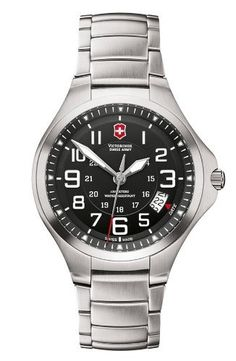 Victorinox Swiss Army Men's 241333 Swiss Army Base Camp Black Dial Watch Victorinox Swiss Army. $258.43. Stainless-steel case. Quartz movement. Mineral crystal. Water-resistant to 330 feet (100 M). Case diameter: 40 mm. Save 26%!