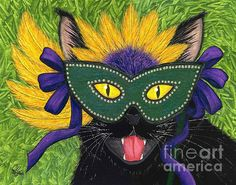 Wild Mardi Gras Cat  - Fine Art America Pixels, Carrie-Hawks.Pixels.com Copyright - Carrie Hawks, Tigerpixie Fantasy Cat Art. More Prints, Jewelry & Gift Items featuring this image are available on my website - Tigerpixie.com