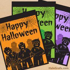 Free printable Lego zombie Halloween posters