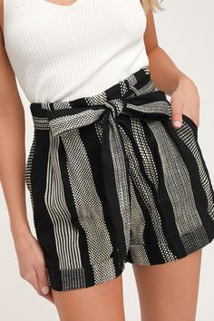 The Honey Punch Cove Hopping Black and White Striped Belted High Waisted Shorts are ready for a beach adventure! Woven striped shorts with high waist and belt. Cute Summer Outfits, Short Outfits, Pretty Outfits, Spring Outfits, Cute Outfits, Summer Shorts, Girl Outfits, Grunge Style, Soft Grunge