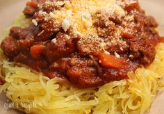 Spaghetti squash w/ meat sauce.  You can add or take away any veggies you want from the sauce.  I like to use Italian sausage instead of hamburger.